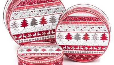 Plechové dózy na vianočné koláčiky, Stromčeky, Vianoce