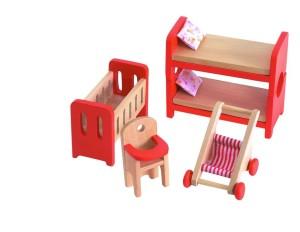 Drevený nábytok do domčeka pre bábiky - detská izba - Woody