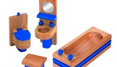 Drevený nábytok do domčeka pre bábiky - kúpelňa a WC - Woody