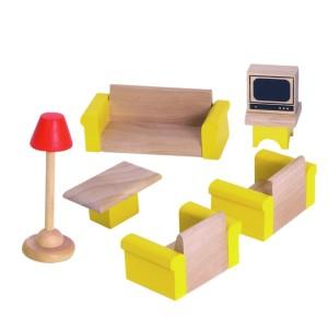 Drevený nábytok do domčeka pre bábiky - obývačka - Woody