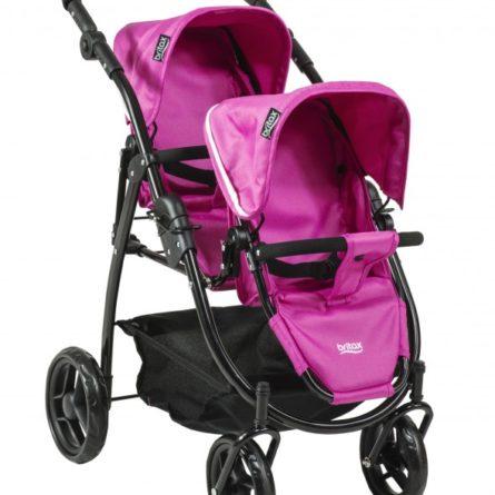 Kočíky pre bábiky -  vytúžený darček pre malé dievčatko - BRITAX - Kočík pre bábiky DUO Twin - Col. Hot Pink