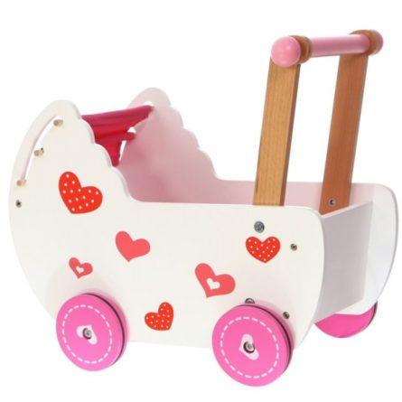 Kočíky pre bábiky -  vytúžený darček pre malé dievčatko - ECO TOYS - Drevený kočík pre bábiky - ružový